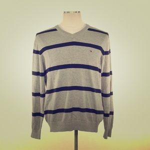 Tommy Hilfiger Men Sweater Striped Gray L